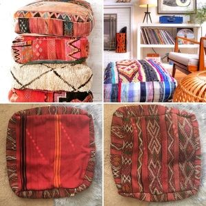 Bohemian decor Omar Kilim Pouf NWT floor cushion
